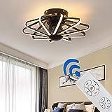 WENY Moderno Ventilador De Techo Silencioso con Luz Y Atenuación Control Remoto LED Sala Ventilador De Perfil Bajo con Aspas Invisibles Candelabro por Cuarto Oficina,Negro
