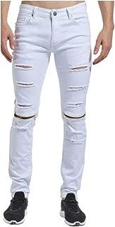 Ariosto0 Ripped Distressed Knee Zipper Skinny Fashion Casual Designer Brand Men Biker Pencil Jeans