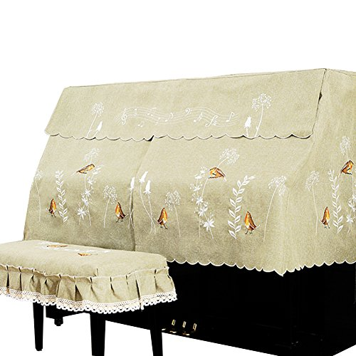 OLizee 1 Set Upright Piano Cover for 148-153cm Piano Embroidery Dust Cover with Piano Stool Bench Cover (Stool Cover 58 x 38cm, Birds)