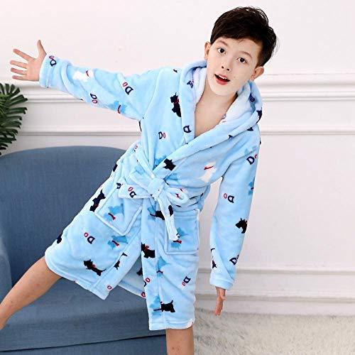 LSJSN Slaapmode Modieuze Flannel Badjassen Voor Kinderen Meisjes Zachte Tiener Jongens Cartoon Print Koraal Fluweel Badjes