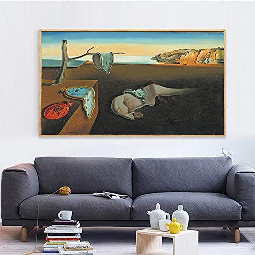 HUA JIE Wand Bildersalvador Dali Die Beständigkeit Der Erinnerungsuhren Surreale Leinwanddruck Malerei Poster Kunst Wandbilder Für Wohnzimmer Home Decorwohnzimmer Deko Wand
