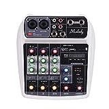 Muslady Consola de Mezcla Tarjeta de Sonido Compacta Mezclador de Audio Digital Entrada de 4 Canales...