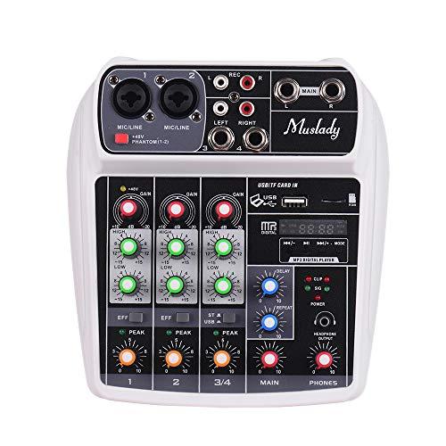 Muslady Consola de Mezcla Tarjeta de Sonido Compacta Mezclador de Audio Digital Entrada de 4 Canales BT MP3 USB + 48V Potencia Fantasma para Grabación de Música Red de DJ Transmisión en Vivo Karaoke