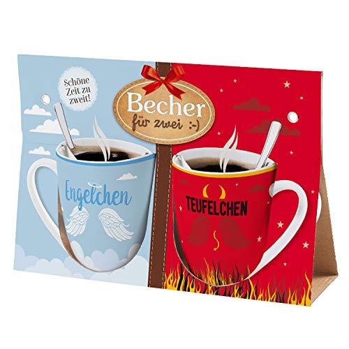 Preis am Stiel Becher für Zwei Engel, Teufel | Partnertassen Set | Kaffeetasse mit Spruch | Partner Geschenk | Geschenk für Freunde | Kaffeebecher | Geschenkideen für Frauen | Kaffee Pott