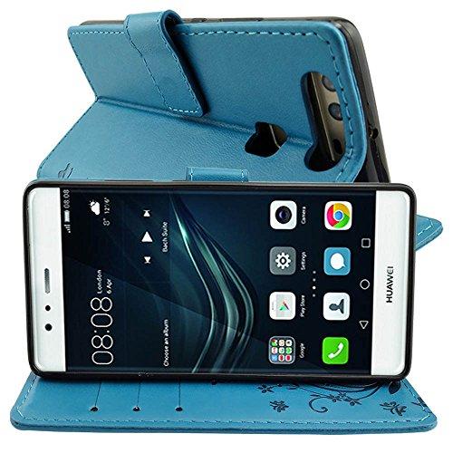 KUAWEI Huawei P9 Hülle Wallet Case Huawei P9 Hülle & Cases Flip Hüllen für Dein Huawei P9,Handy Schutzhülle Kunstleder Handycover Klapphülle mit Kartenfach und Magnetverschluss (Blau) - 4