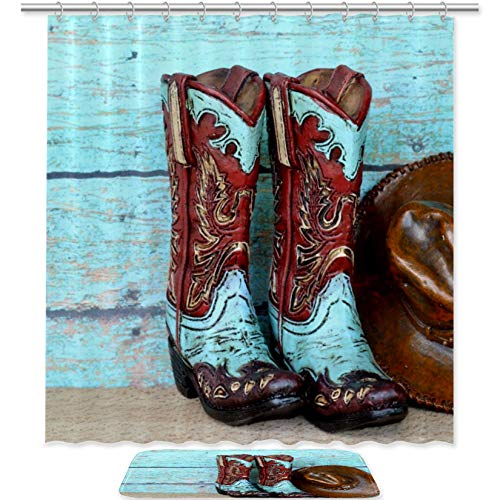 TIZORAX Cowboy Boots and Hat lean on Blue Rustic Wooden Bath Shower Curtain Set with Non Slip Bathroom Rugs Floor Mat Home Decoration