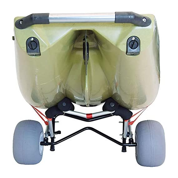 """Malone WideTrak SB Large Kayak/Canoe Cart with Balloon Wheels & Bunks 7 24"""" adjustable padded bunks with mounting hardware Folding silver & black anodized aluminum frame Corrosion resistant stainless steel fittings"""