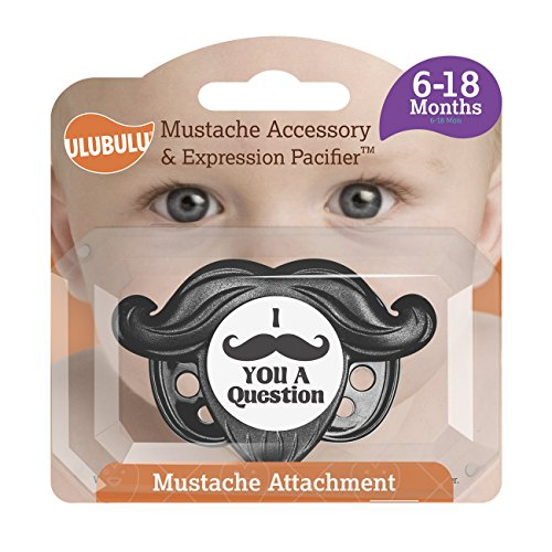 Ulubulu Mustache Accessory and Expression Pacifier, Black, 6-18 Months