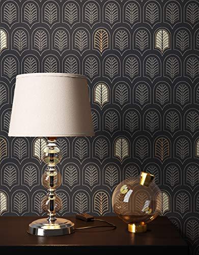 NEWROOM Tapete Schwarz Vliestapete Ornamente - Mustertapete Geometrisch Silber Gold Feder Blätter Retro Grafisch 50er Art Glamour inkl. Tapezier-Ratgeber