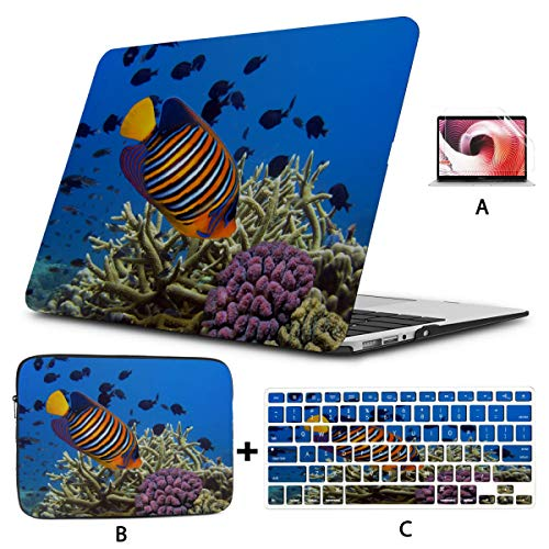 Macbook Protective Case Coral Reefs And Tropical Fish Mac Air Case Hard Shell Mac Air 11'/13' Pro 13'/15'/16' With Notebook Sleeve Bag For Macbook 2008-2020 Version