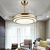 Qinmo Luces de ventilador de techo, techo invisible moderna ligera de 42 pulgadas ventilador Control de pared de la lámpara simple y elegante de la sala ultra-delgado del ventilador de la lámpara de l