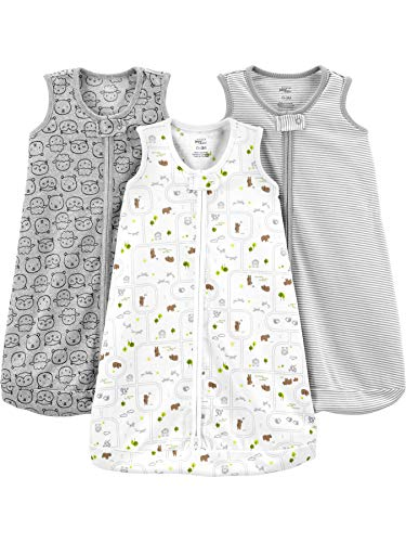 Simple Joys by Carter\'s Baby Schlafsack, Baumwolle, ärmellos, gestreift, Tiere, 6-9 Monate, 3er-Pack