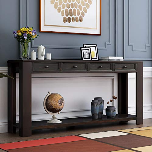 """P PURLOVE Console Table for Entryway Hallway Easy Assembly 64"""" Long Sofa Table with Drawers and Bottom Shelf (64"""", Retro Black)"""