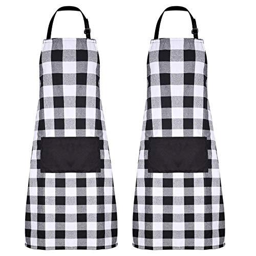 Delantal de Cocina,Delantales de Cocina,2 Piezas Delantal Cocina Ajustable,Delantal de Trabajo Ajustables...