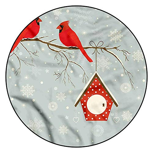 3D Cardinal Pattern Area Rugs Carpets,4' Round,Tree Branches Snowy Night Floor Carpet with Non Slip Backing for Bedroom Livingroom Dorm Kids Room Indoor Home Decorative