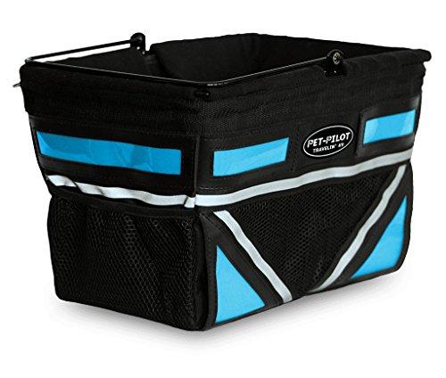 Travelin K9 Pet-Pilot Original Dog Bike Basket Carrier | 8 Color Options for Your Bicycle (Neon Blue)