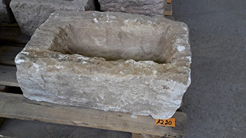 Der Naturstein Garten Alter Trog aus Granit 45 cm lang Brunnen Steintrog - G1220 Granittrog Waschbecken