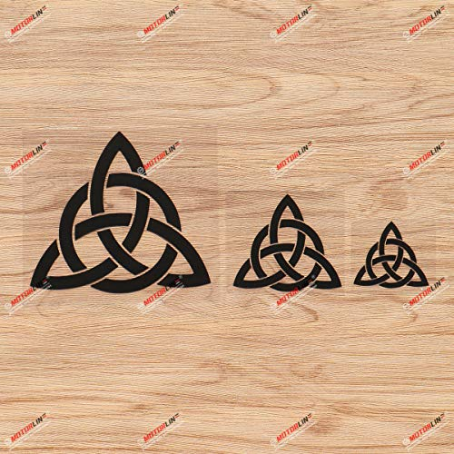 Triquetra Celtic Trinity Knot Symbol Vinyl Decal Sticker - 3 Pack Black, 2 Inches, 3 Inches, 5 Inches for Car Laptop Window Phone