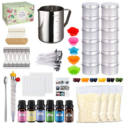 Candle Making Kit, 267 Pieces DIY Candle Craft Tools, Complete Candle Making Supplies Including Pouring Pot, Beeswax, Color Dyes, Fragrance Oil, Candle Wicks, Thermometer, Candle Tins, Molds, Spoon
