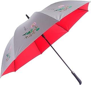 東方精製 長傘 全グラスファイバー材質 50%手作業で作る ワンタッチ 丈夫 耐風伞 直径120cm 大きな傘 UV遮蔽率99% 撥水加工 晴雨兼用傘 軽量伞 花柄 男女兼用 (レッド)