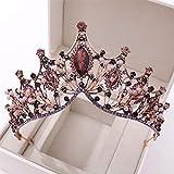 Cascos Tiara Nupcial Tocado Corona Barroco Retro del Rhinestone de la Manera para los Regalos de cumpleaños de Cosplay Partido de Las Mujeres Atrezzo decoración,Púrpura