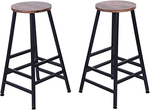 US Fast Shipment Quaanti 28 Inch Bar Stool Bistro Square Leg Counter High Stool Dining Kitchen Pub Bar Chair Retro Finish Industrial Style Wood Barstools Footstool Home Furniture Set Of 2 Set Of 2