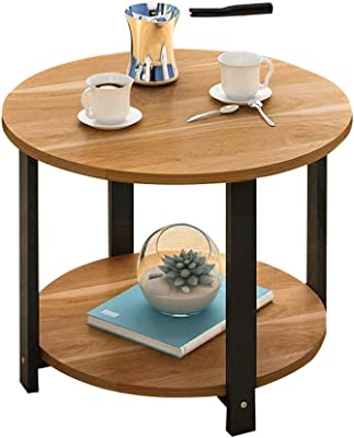 Nordic Round Coffee Table? Double-Layer Small Round Table Modern Sofa Side Table Simple Solid Wood Bedside Table Telephone Table Home Study Table Two Sizes Optional A++
