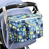 Timertick Bolsa Organizadora de Cochecitos para Bebé, Bolso Carro Bebe con Portavasos y Correa Para El Hombro, Almacenamiento para Pañales (Azul)