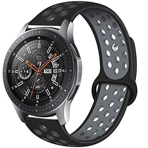 Compatible Samsung Gear S3 Frontier/Samsung Galaxy Watch 46mm Bands,22mm Silicone Breathable Replacement Strap Quick-Release Pin for Gear S3 Frontier Smart Watch (Black-Grey)