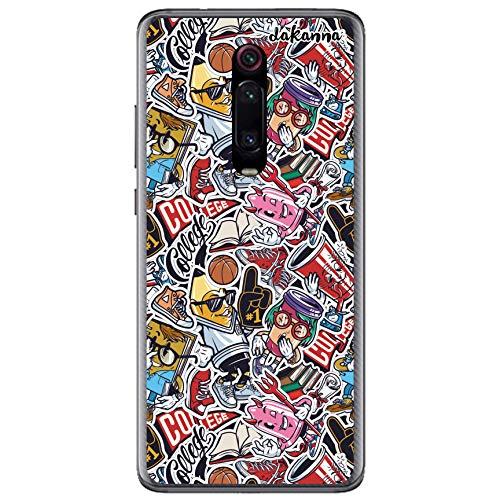 dakanna Custodia per [Xiaomi Mi 9T -Mi 9T PRO - Redmi K20- Redmi K20 PRO] Trasparente con Disegni [Adesivi comici di Stile Vintage] in Morbida Silicone TPU Flessibile, Shell Case Cover in Gel