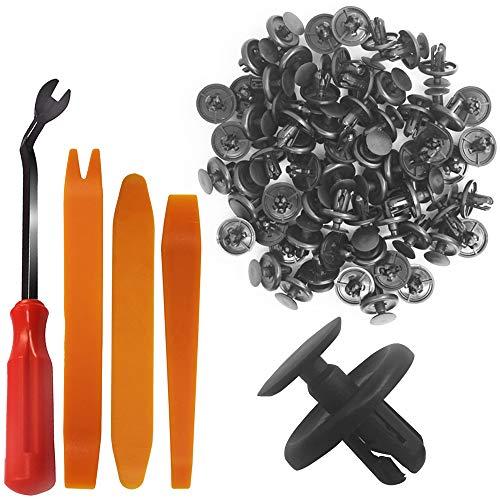 YuCool Fermo a pressione da 100 pezzi, fermo per rivetti Perno paraurti Clip a pressione in plastica nera con dispositivo di fissaggio in plastica + 3 leva per rimozione