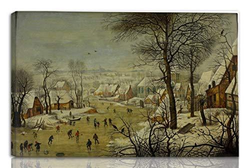 Berkin Arts Pieter Bruegel The Elder Gedehnt Giclee Auf Leinwand drucken-Berühmte Gemälde Kunst Poster-Reproduktion Wand Dekoration Fertig zum Aufhängen(Winterlandschaft Mit Einer Vogelfalle)#NK