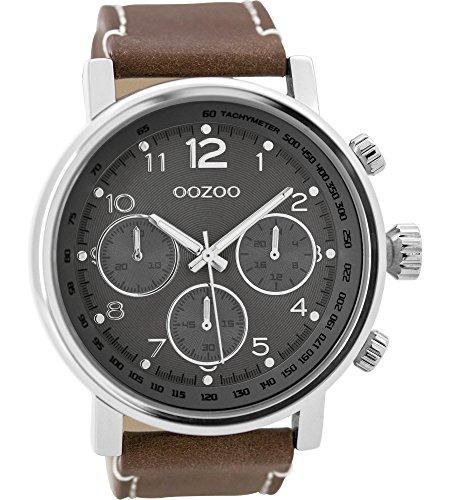Oozoo Herrenuhr mit Lederband 48 MM Dunkelgrau/Dunkelbraun C9457