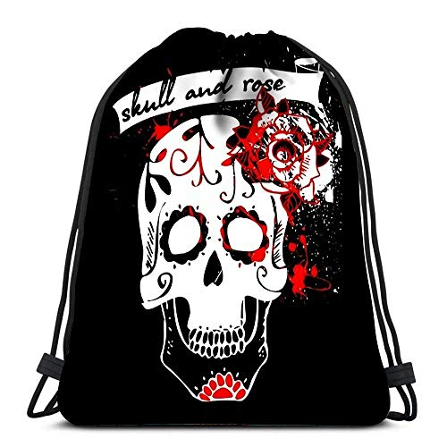 JDHFJ Bolsa con cordón Drawstring Backpack Sport Bags Cinch Tote Bags Tattoo Skull and Rose White for Traveling and Storage