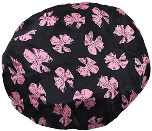 Alittle Bonnet de douche imperméable à double couche imprimé à pois pour femmes (Bowknot)