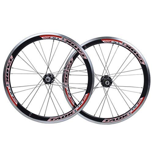 LSRRYD Cerchi BMX 406 Set Ruote Bicicletta 20 Pollici Freno sul Cerchione Rilascio Rapido Ruota Anteriore E Posteriore Bici per Volano Cassetta 7/8/9/10 velocità (Color : Black, Size : 20')