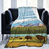 Jreergy Throw Blankets - Yellowstone National Park Fleece Blanket,Ultra-Soft Micro Fleece Blanket for Bedroom Sofa Couch Blankets and Throws