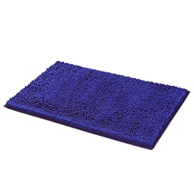 Mayshine Bath mats for Bathroom Rugs Non Slip Machine Washable Soft Microfiber 2 Pack (20×32inches, Dark Blue)