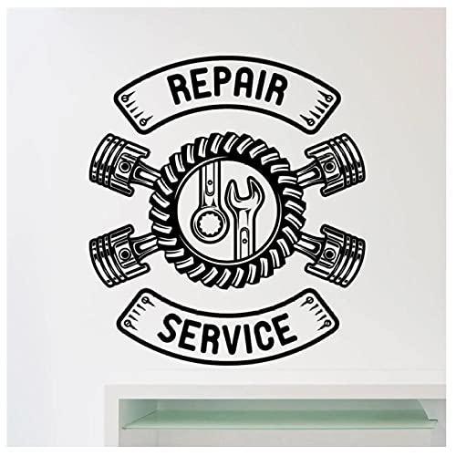 KBIASD Servicio de reparación de automóviles Calcomanía de pared Taller de automóviles Llave de garaje Decoración del hogar Etiqueta de la pared 58 x 66 cm
