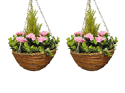 Selections Set of 2 Artificial Azalea Topiary Garden Hanging Baskets (25 Centimeter)