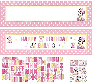 Minnie Mouse First Birthday Customizable Giant Banner Birthday Baby Shower 65 Inches by 20 Inches Huge