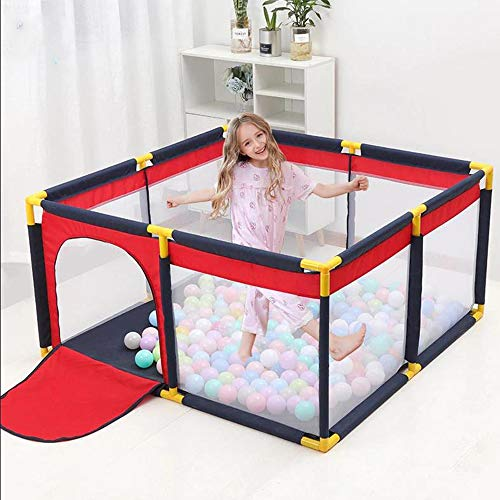 ROLENUNE Baby Playpen Panel Foldable Kids Safety Barrier Balls Pit PortableFence Activity Center Play Yard Zipper Gate Toddlers for Indoor Outdoor Use Room Playground Crawling Play Space (Medium)