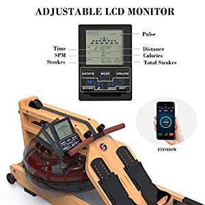 SNODE 2021 Wood Water Rowing Machine with APP, Foldable Rowing Machine for Home Use with LCD Monitor, Water Resistance Wood Rower Indoor Exercise Machine, Soft Seat, Home Fitness Workout
