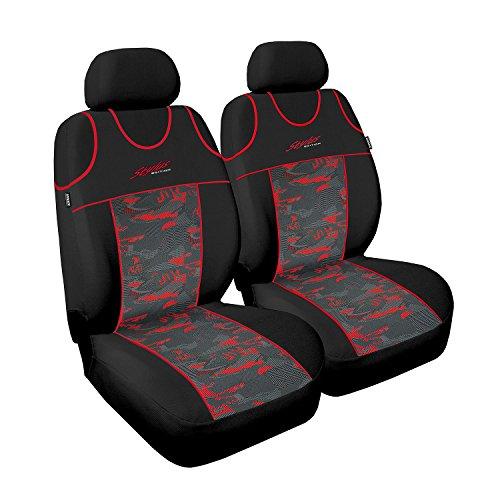 Housses universelles Stylus pour sièges auto avant - Polyester et velours - Rouge