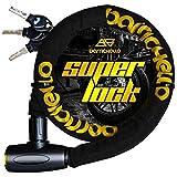 Barrichello(バリチェロ) バイクロック ワイヤーロック バイク 自転車 φ(直径)22mm×1200mm チェーンロック 盗難防止 鍵3本セット 保証付き 【ブラック】