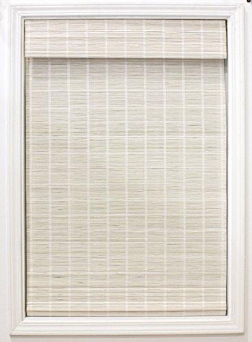 "Radiance 2215322E Cordless Bayshore Matchstick Bamboo Roman Shade, 23"" x 64"", White"
