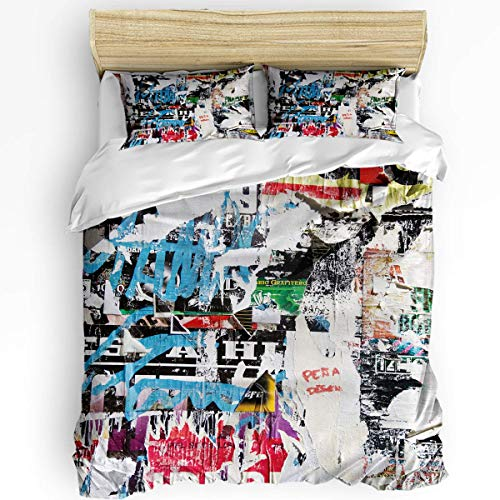 JONINOT 3-Piece Bedding Set Twin Size 86'x70' Art (California Vintage Old Newspaper) Soft Comfy Lightweight Quilt Cover Pillowcases