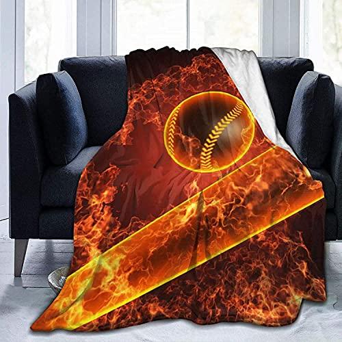 Manta de béisbol en franela de fuego para bebés, niños, hombres, mujeres, mantas suaves y cálidas, tamaño Queen y mantas para sofá, cama, sofá de viaje