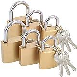com-four® 6X Vorhängeschloss aus massivem Metall - Vorhangschloss mit Schlüssel
