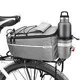 Augot Bolsa Trasera para Bicicleta, Bolsa de Maletero de Bicicleta 10L, Bolsa Asiento Trasero de Bicicleta para Portaequipajes, Portaequipajes Trasero Impermeable para Bicicleta Bolsas Aislantes,Gris